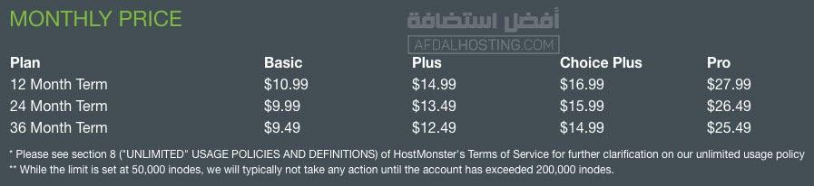 تكاليف الاستضافة الشهرية عند هوست مونستر