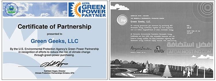 نماذج من شهادات جرين جيكس المُوقعة مع المبادرات البيئية